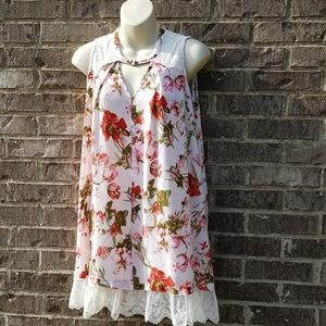 Umgee floral Tunic Pink Print Size Sm